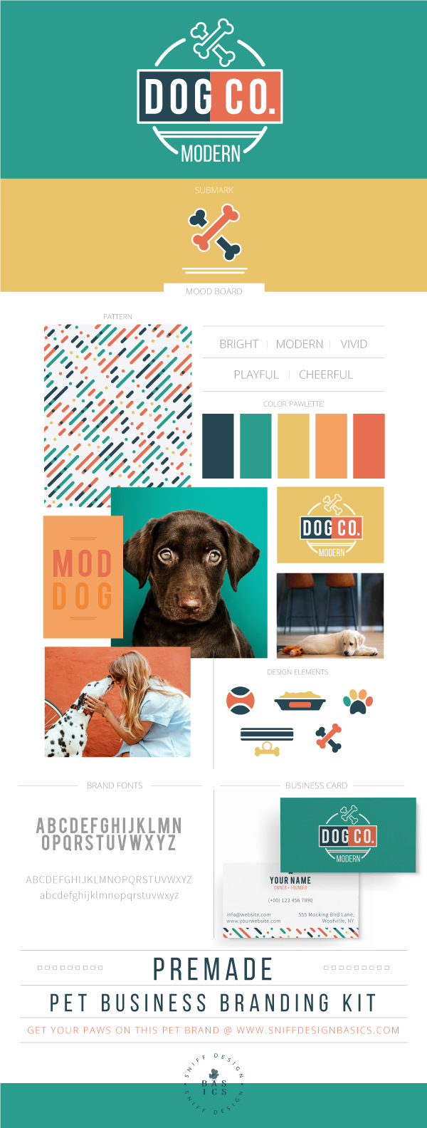 A Modern Dog Premade Pet Business Branding Kit by Sniff Design Basics
