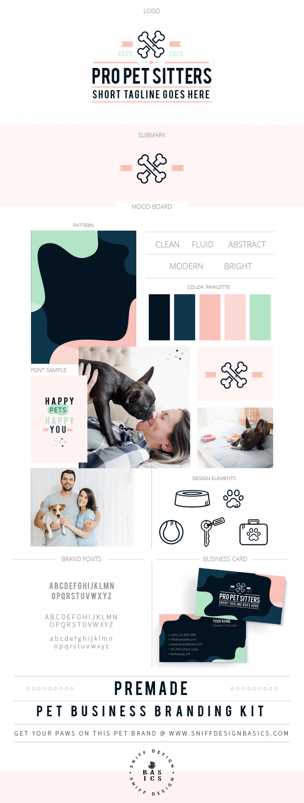 Professional Pet Sitting Premade Pet Business Branding Kit by Sniff Design Basics