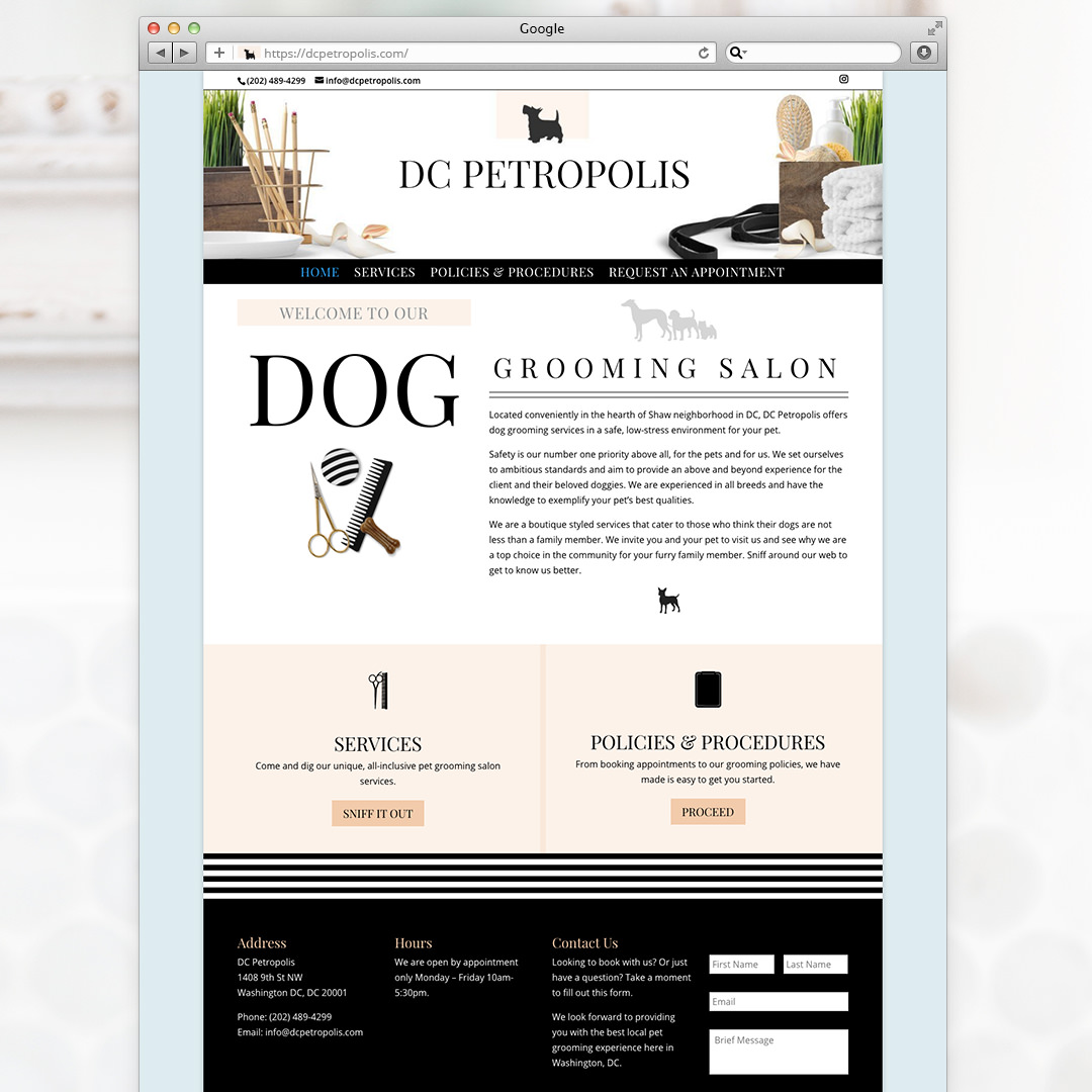 Pet Grooming Web Site Design for DC Petropolis by Sniff Design Studio