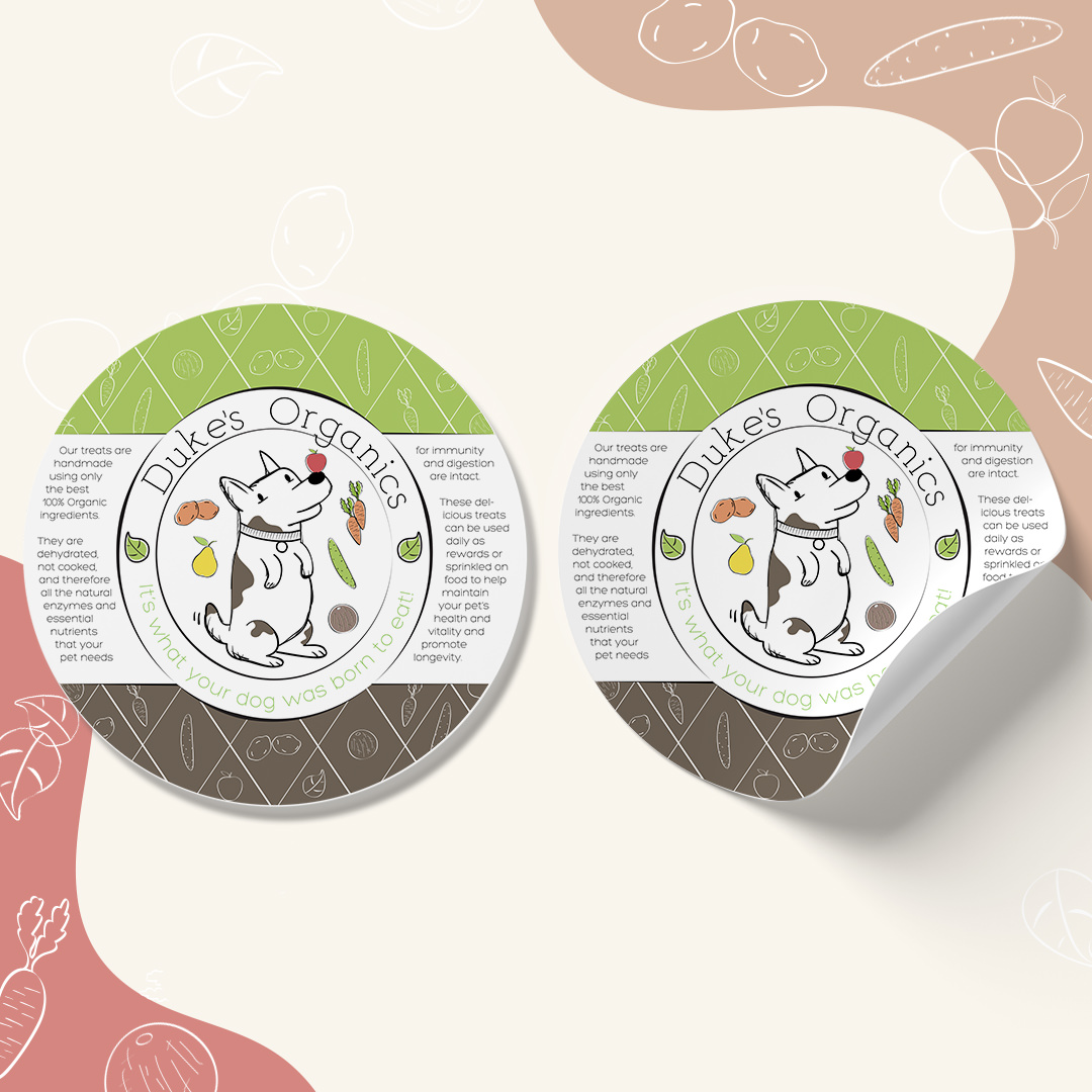 Pet Treat Label Package Design for Duke's Organics by Sniff Design Studio