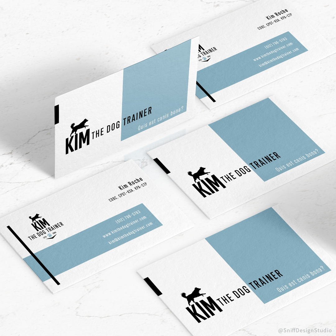 Pet Business Card Design for Kim The Dog Trainer by Sniff Design Studio