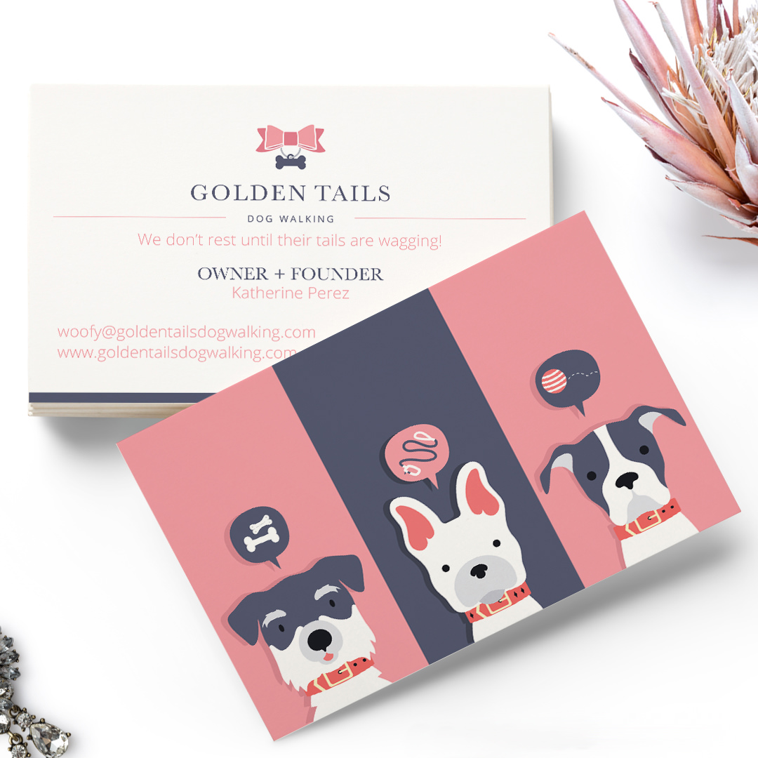Business Card Design and Pet Branding Illustration for Golden Tails Dog Walking by Sniff Design Studio