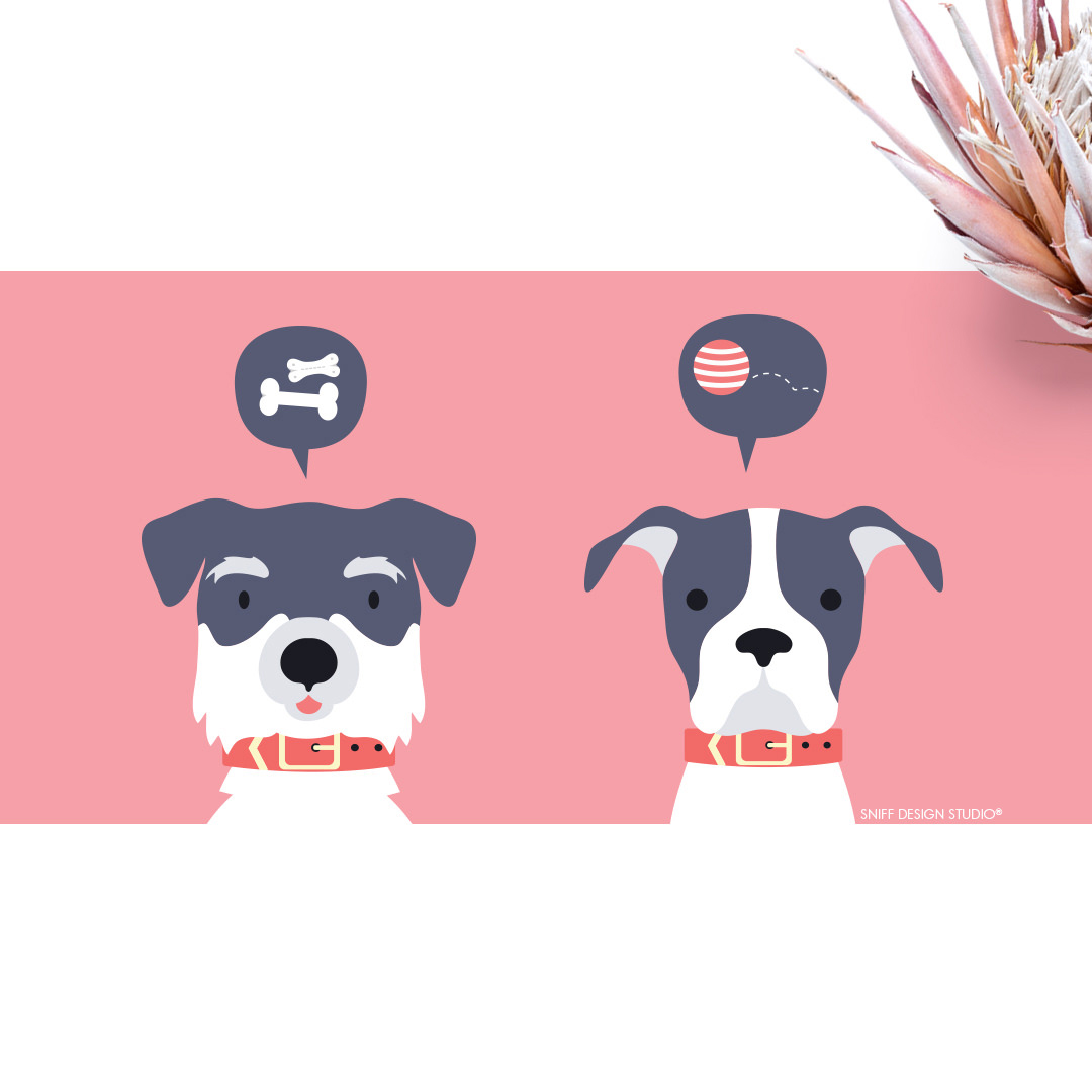 Custom Pet Branding Illustration for Golden Tails Dog Walking by Sniff Design Studio