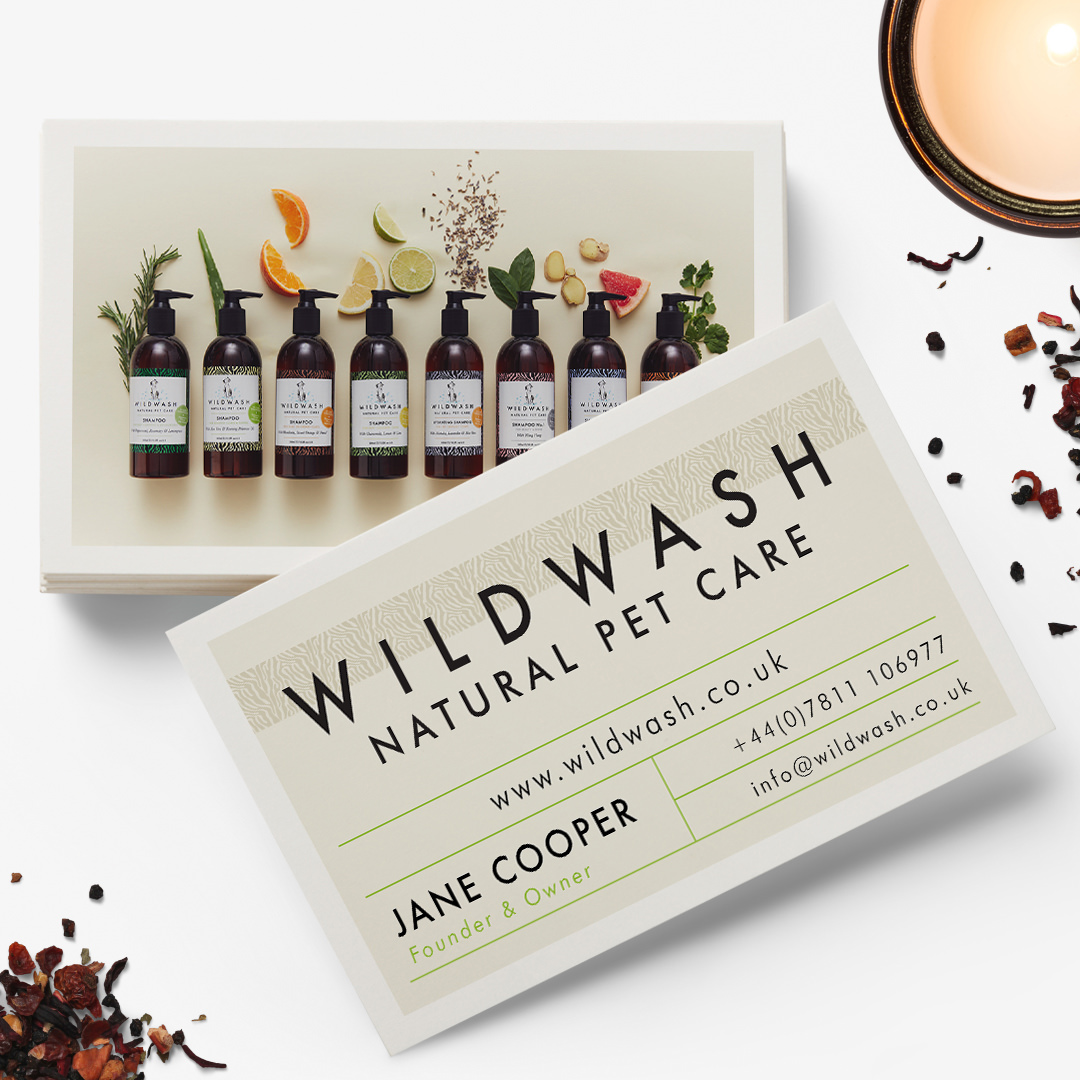 Pet Business Card Design for WildWash UK by Sniff Design Studio