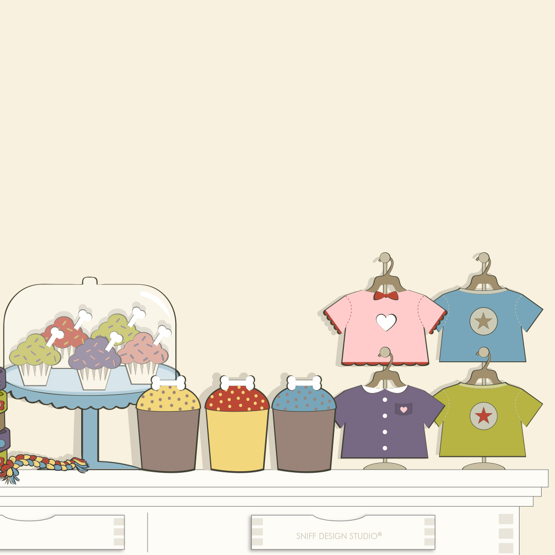 Custom Pet Fashion Illustrations for Bentley's Close Pet Boutique by Sniff Design Studio 3