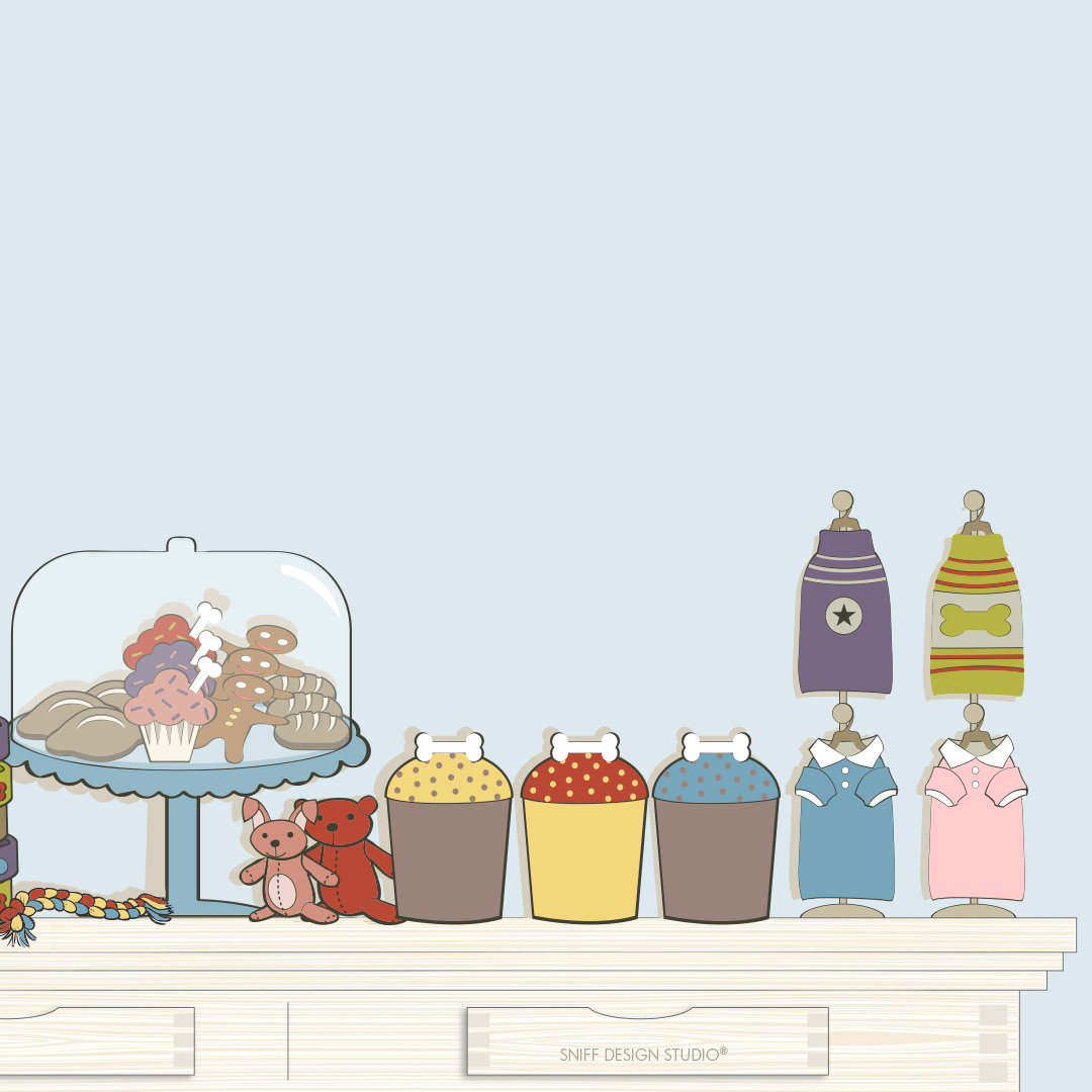 Custom Pet Fashion Illustrations for Bentley's Close Pet Boutique by Sniff Design Studio 6