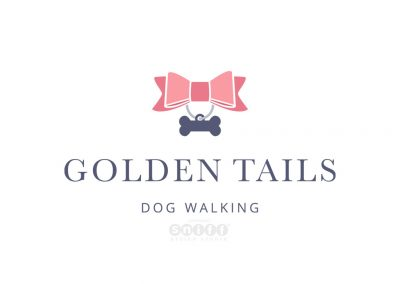 Business Card Design and Pet Branding Illustration for Golden Tails Dog Walking