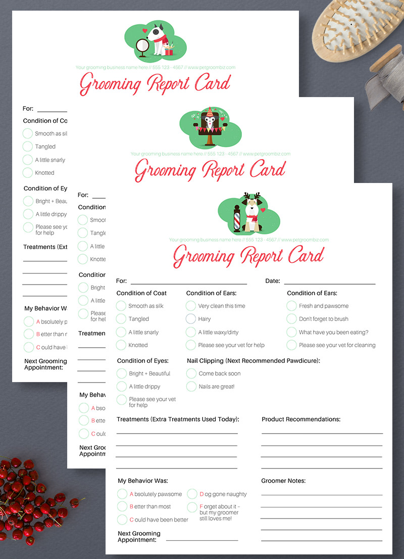 Stylish Christmas and New Year Pet Grooming Report Card Pack by Sniff Design Studio