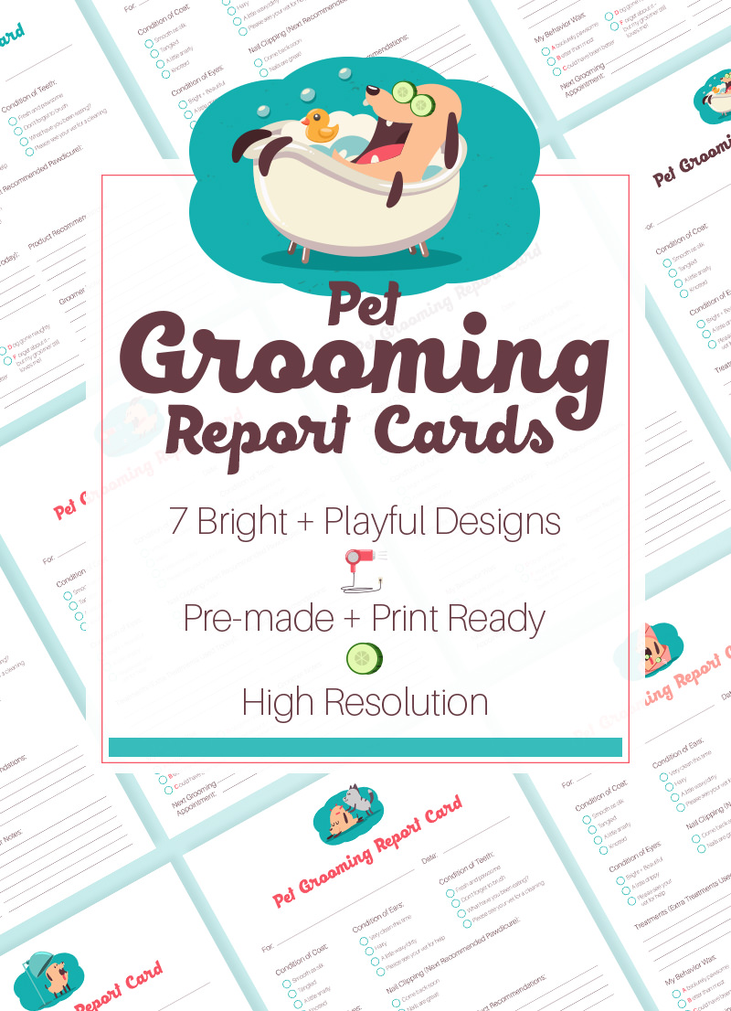 Whimsical Pet Grooming Report Cards For Sale by Sniff Design Studio 1