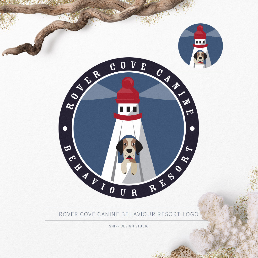 Pet business logo and sub mark design for Rover Cove Canine Behavior Resort by Sniff Design Studio