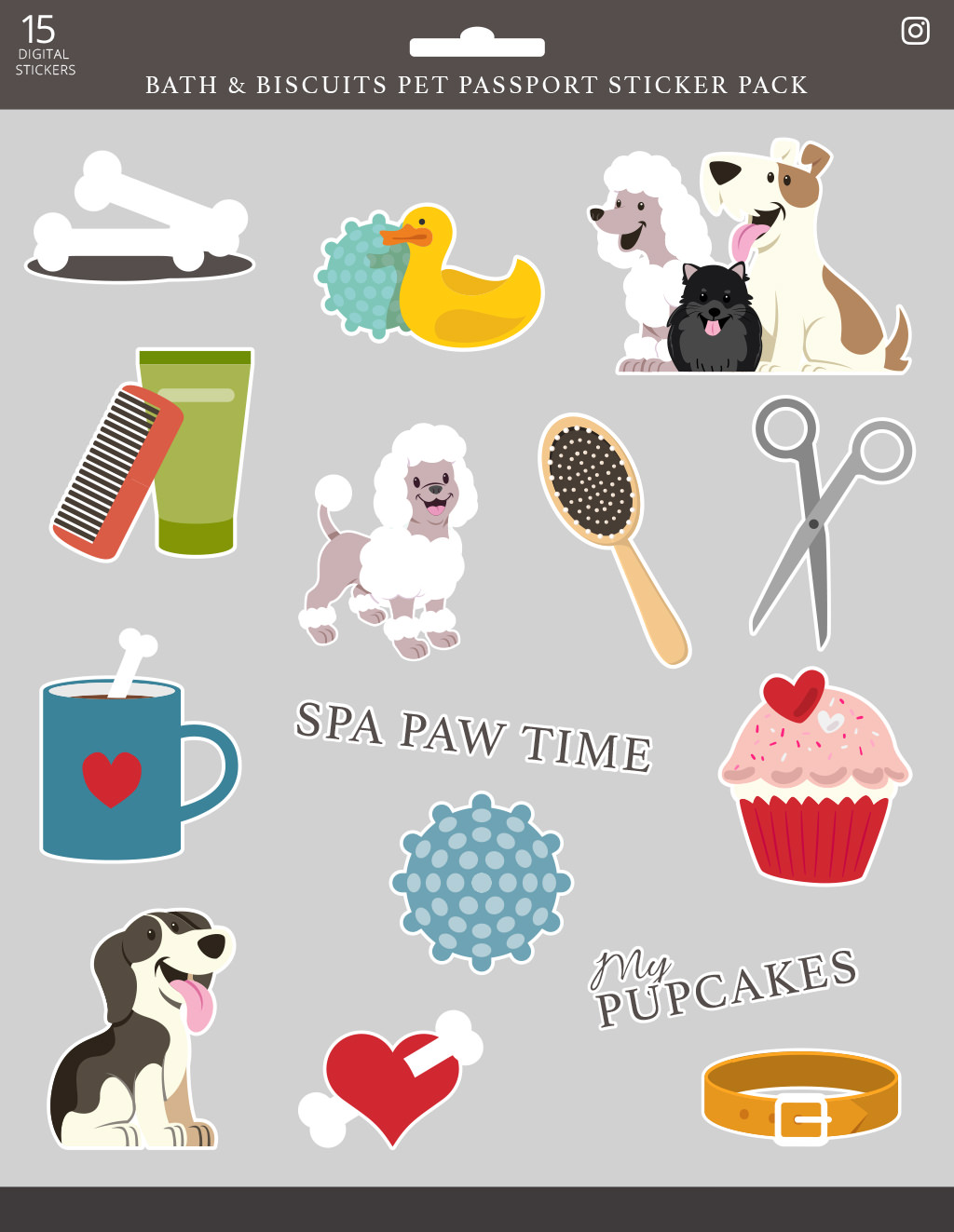 Pet Passport May digital sticker pack for Bath & Biscuits by Sniff Design Studio