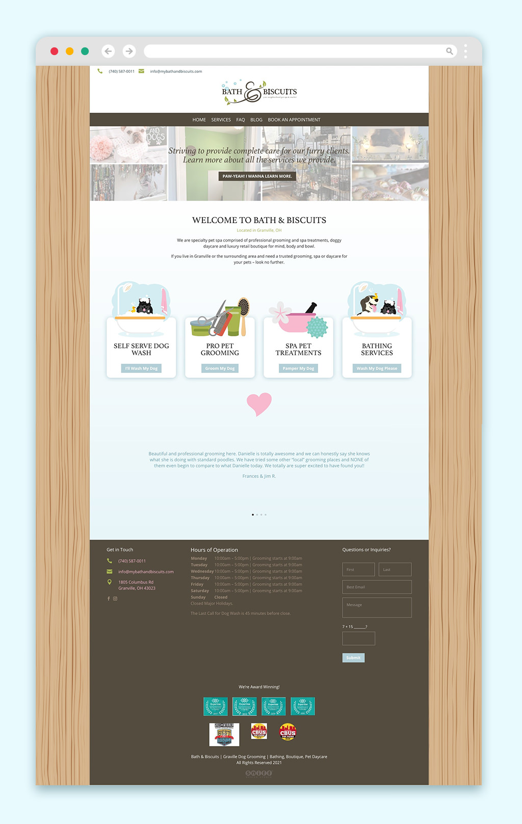 Pet store website design for Bath & Biscuits by Sniff Design Studio