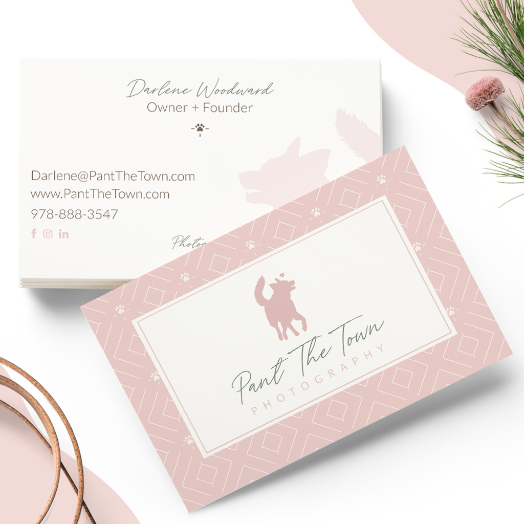 pet business card design for Pant The Town Pet Photography