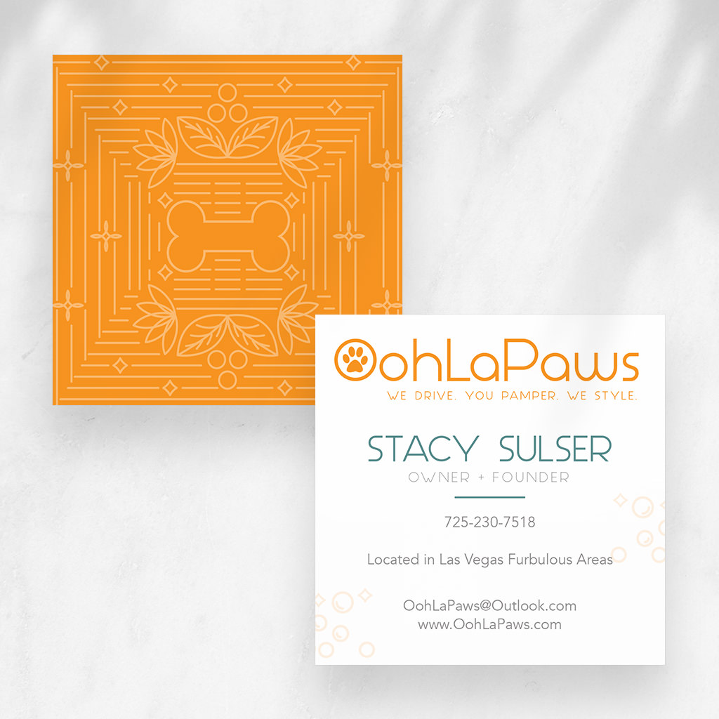Pet grooming business card design and more for OohLaPaws dog grooming by Sniff Design Studio