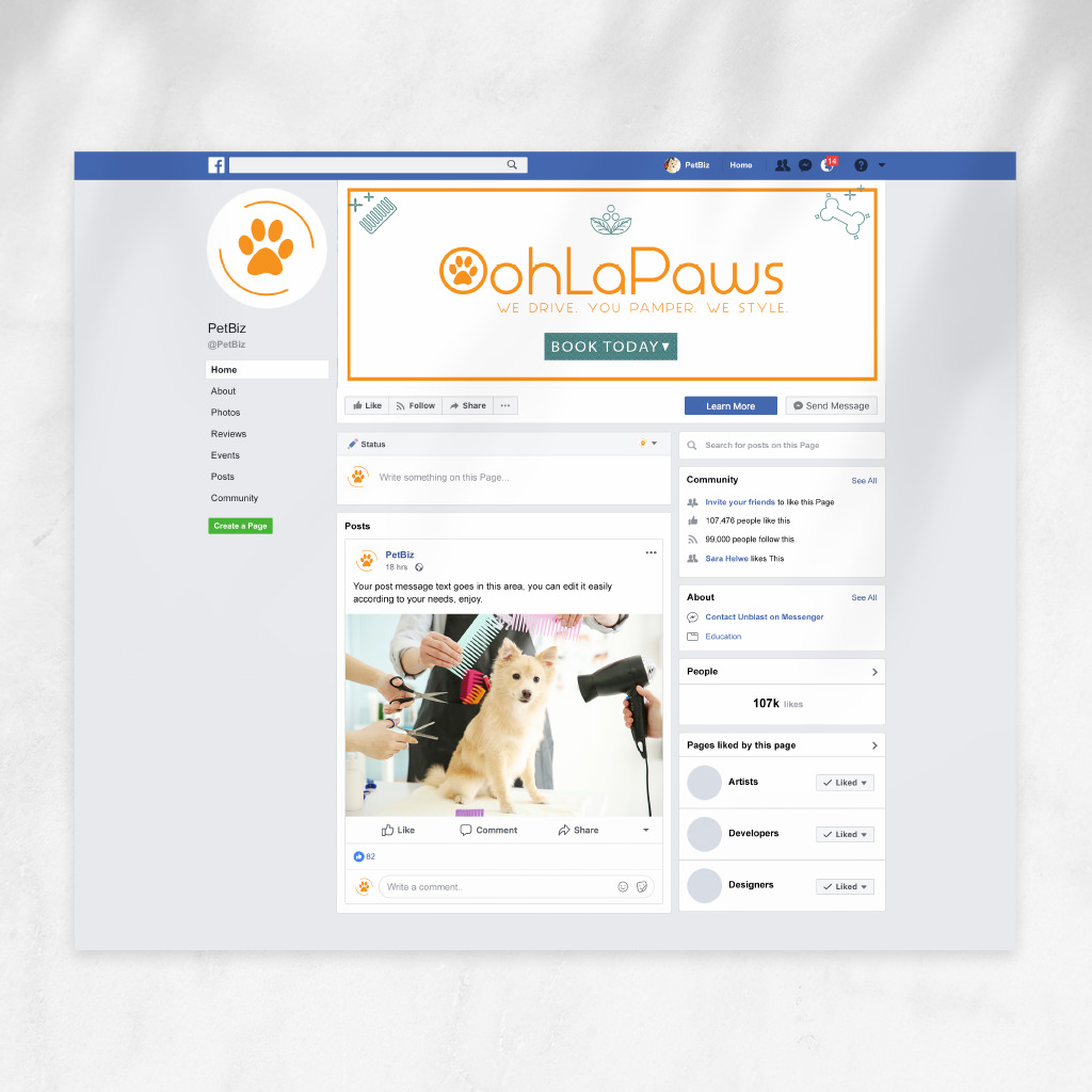 Pet grooming facebook design and-more for OohLaPaws by Sniff Design Studio