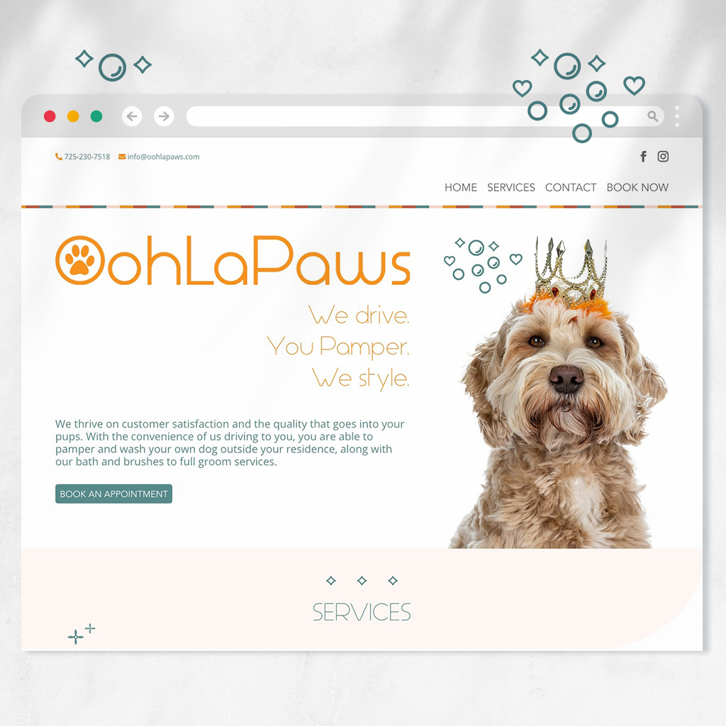 Pet grooming website design and more for OohLaPaws dog grooming by Sniff Design Studio