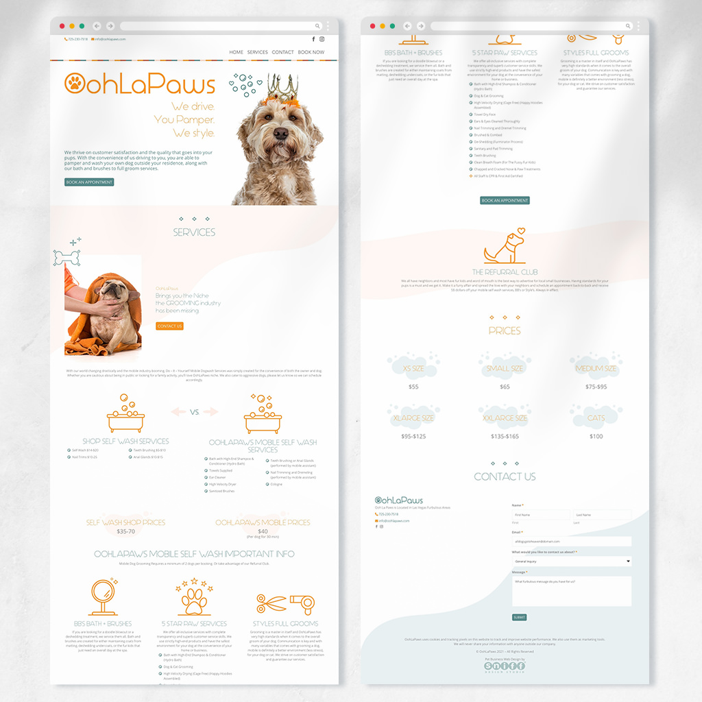 Pet grooming website design and more for OohLaPaws dog grooming by Sniff Design Studio 2