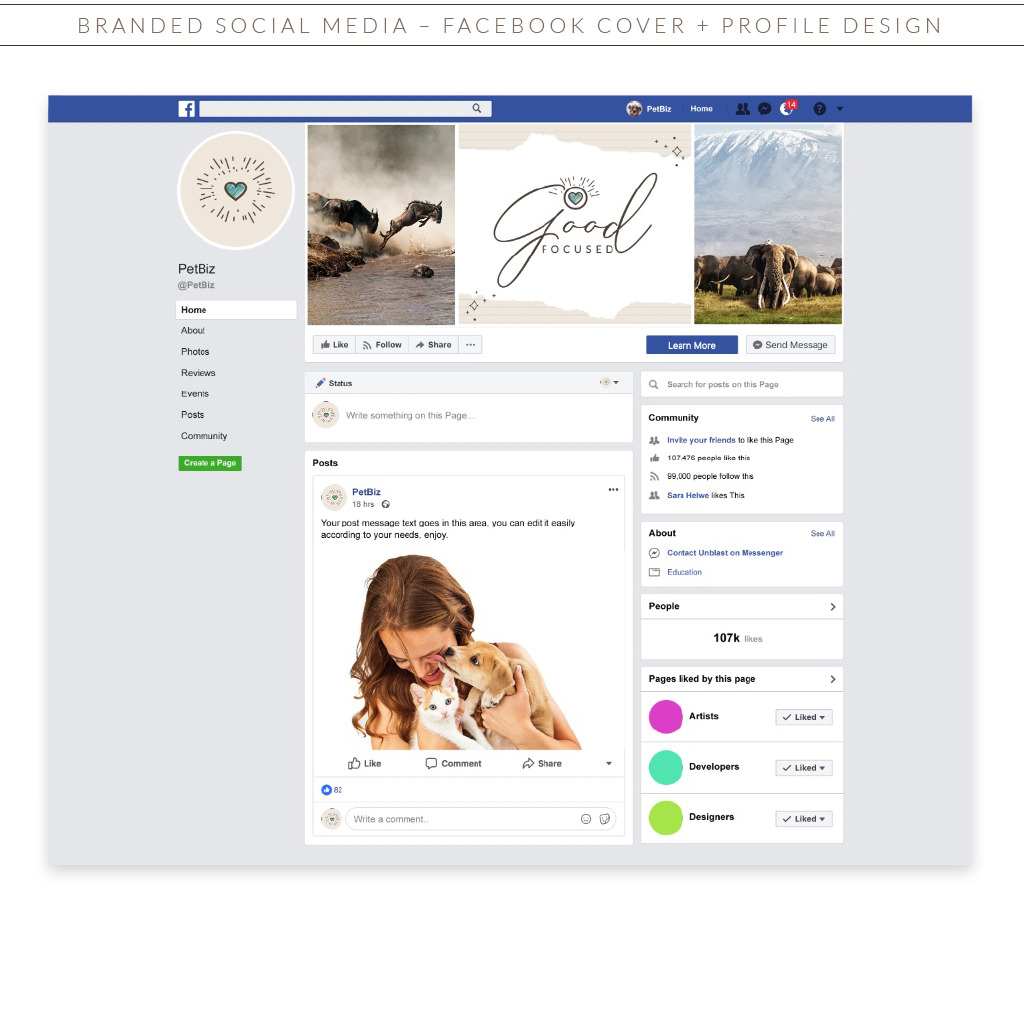 Good Focused Photography Pet Branding Social Media Facebook Design by Sniff Design Studio