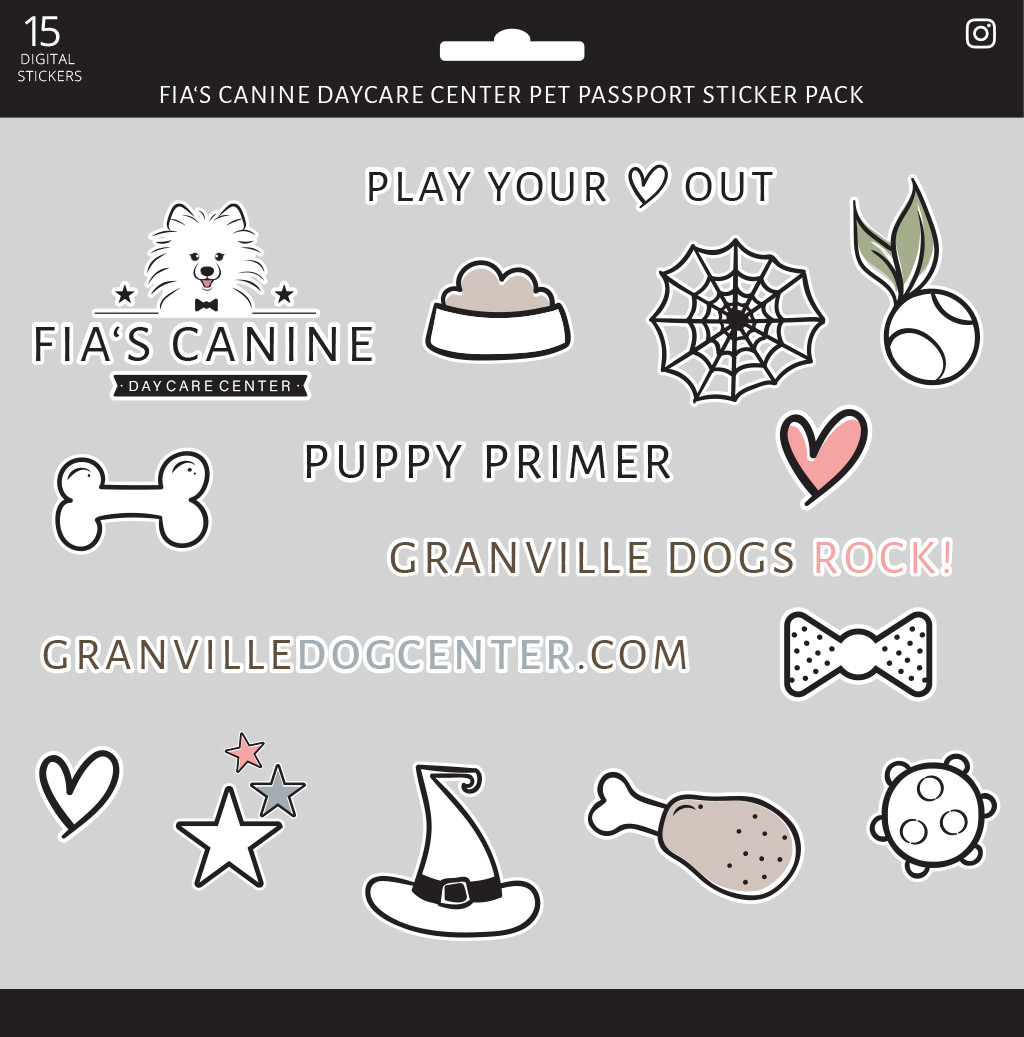 Fia's Canine Daycare Custom Branding Sticker Set by Sniff Design