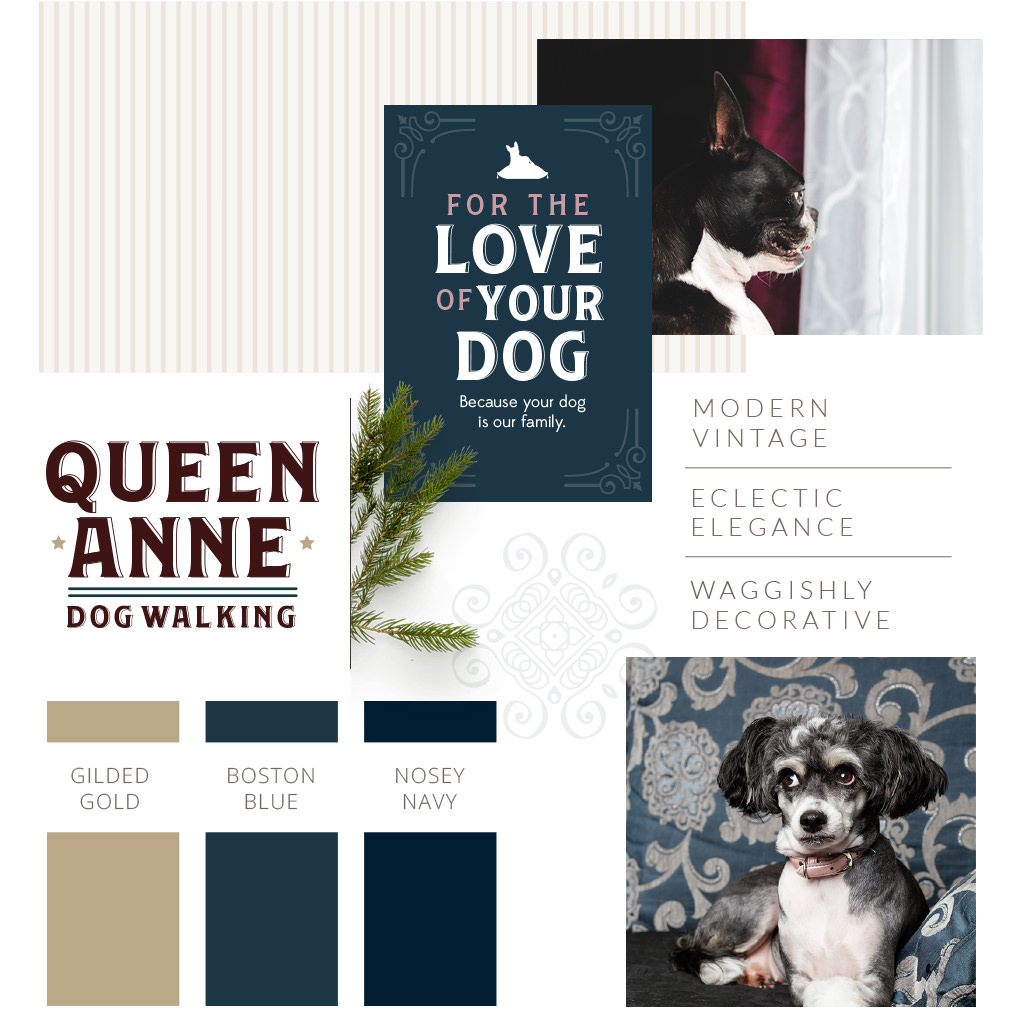 Pet Branding Design for Queen Anne Dog Walking by Sniff Design Studio