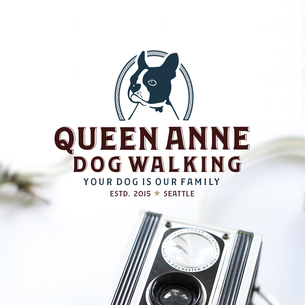 Queen Anne Dog Walking Pet Logo Design and Branding by Sniff Design