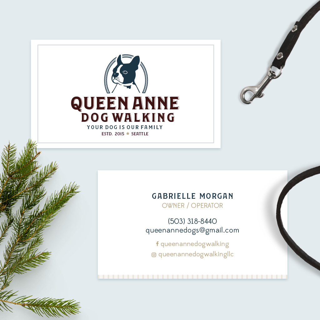 Pet Business Card Design for Queen Anne Dog Walking by Sniff Design Studio