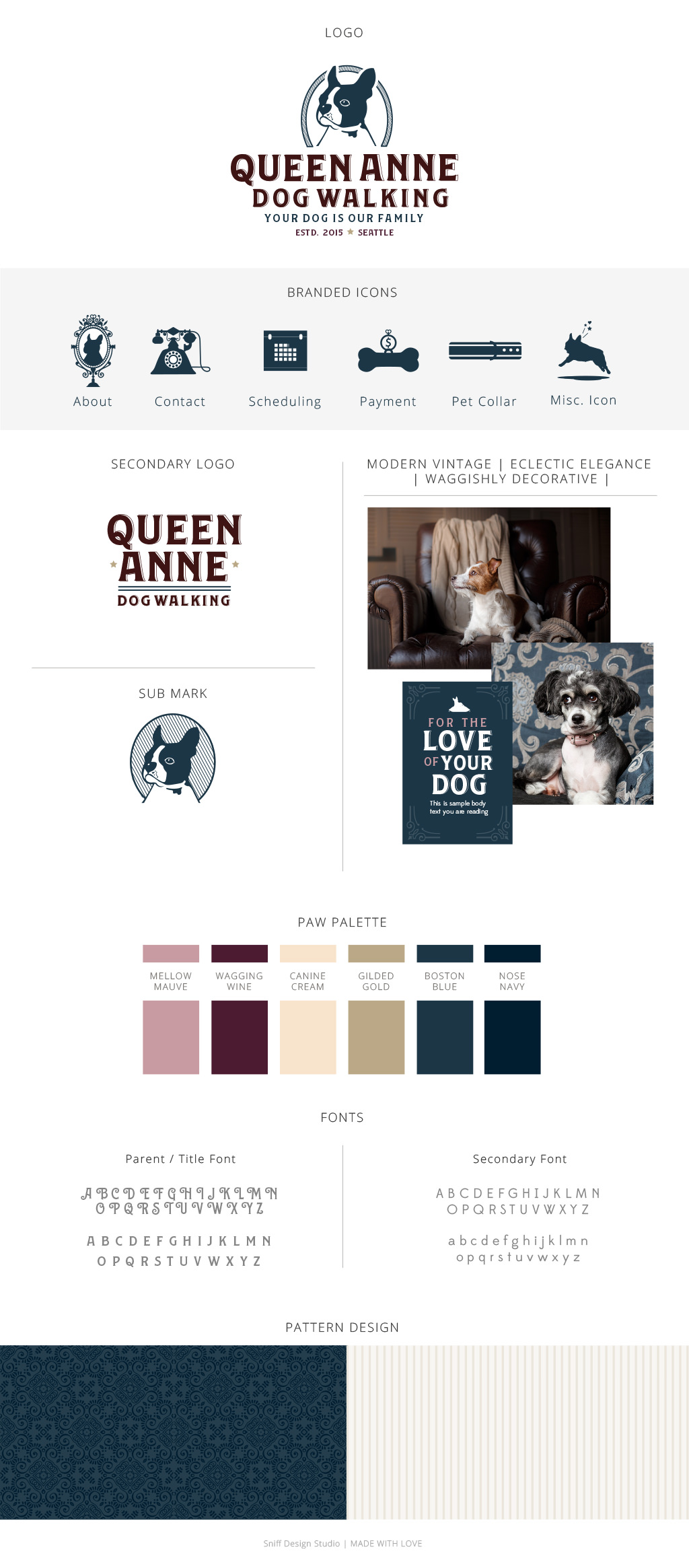 Queen Anne Dog Walking Pet Branding Design by Sniff Design Studio