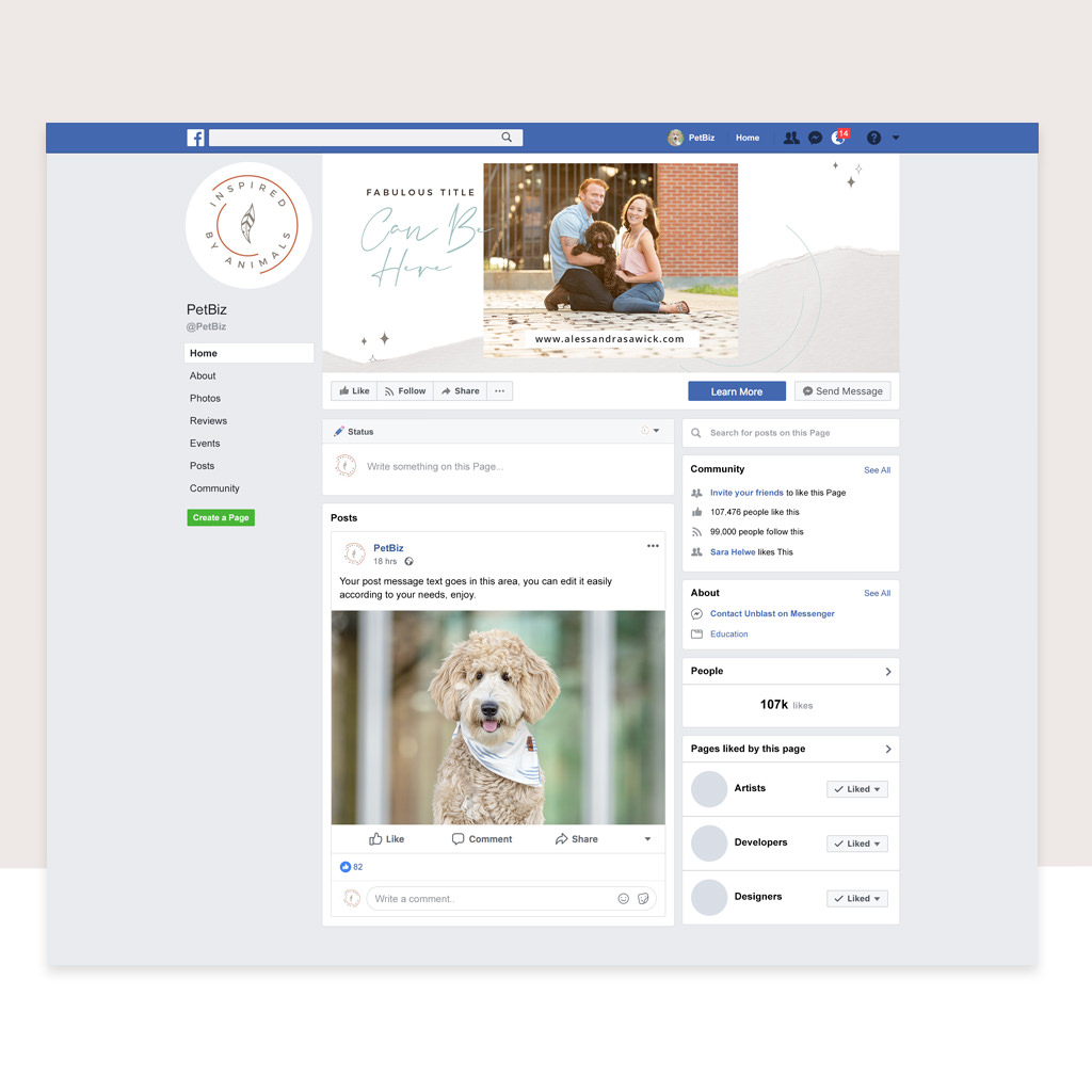 Facebook Cover Design for Inspired by Animals by Sniff Design