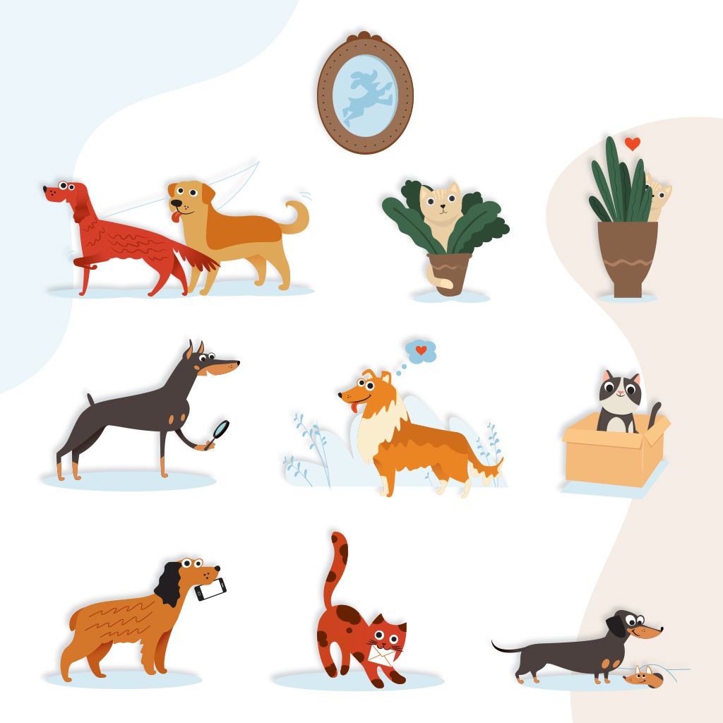 Custom pet branding illustration for pet sitter Happy Go Lucky Pet Care by Sniff Design Studio