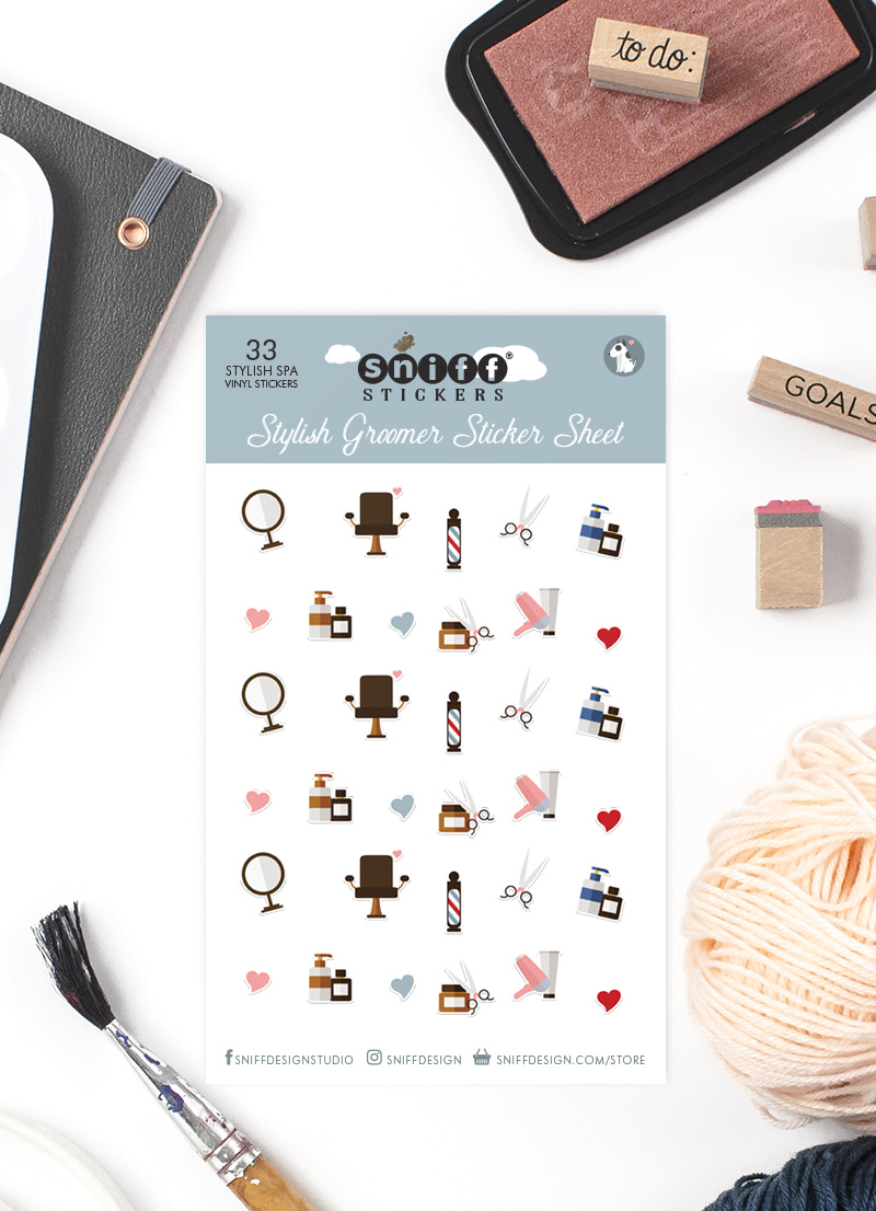 33 Pet Grooming Vinyl Stickers for sale by Sniff Design Studio