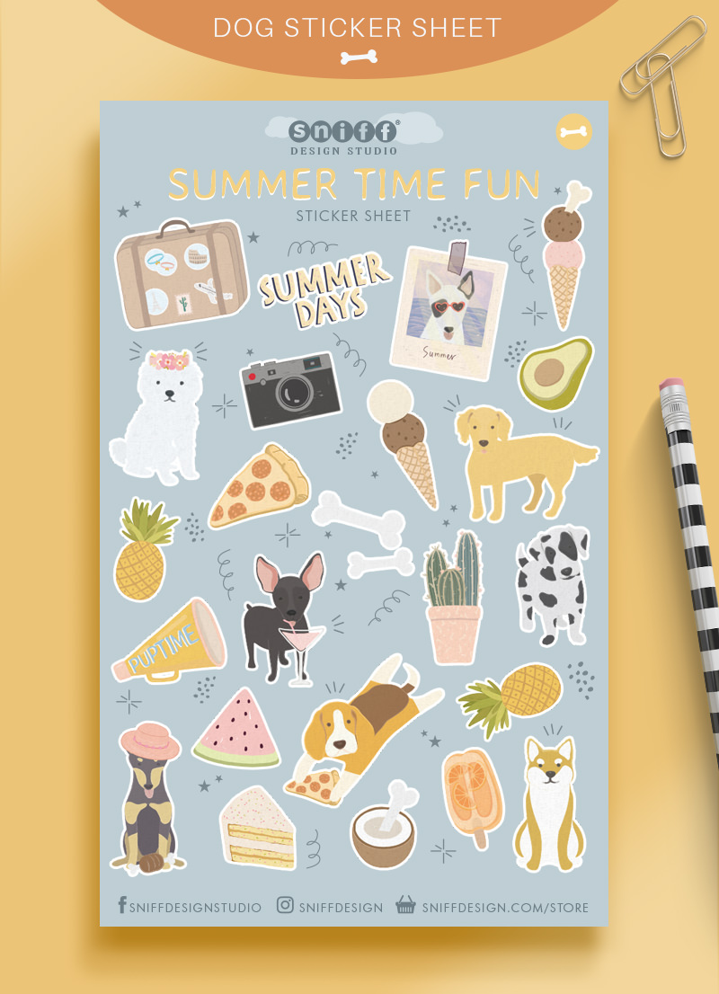 Summer Time Fun Dog Sticker Sheet For Purchase by Sniff Design Studio